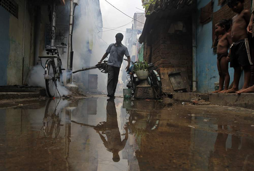 A worker fumigates a residential area in the southern Indian city of Chennai, October 25, 2012. REUTERS\/Babu