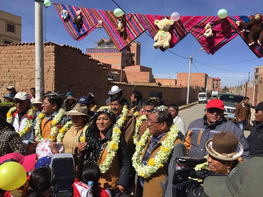 Soledad Chapeton arrives at the inauguration of a new sports facility in El Alto, Bolivia. Chapeton said women find it hard to get financial backing to run campaigns and often face personal attacks on social media.