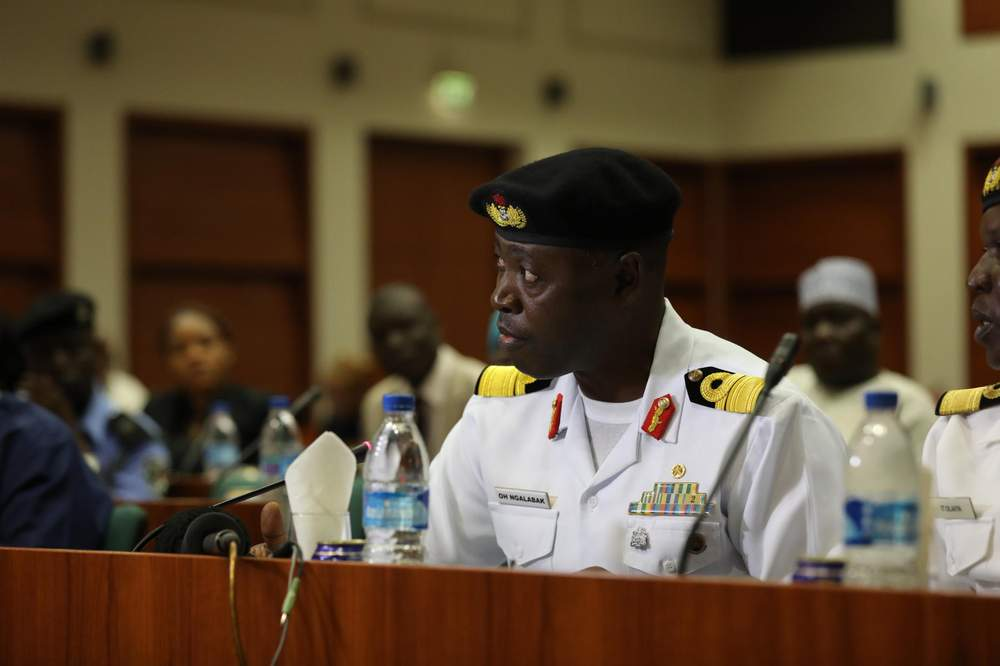A navy officer addresses the Committee on Foreign Relations chaired by MP Elendu-Ukeje.