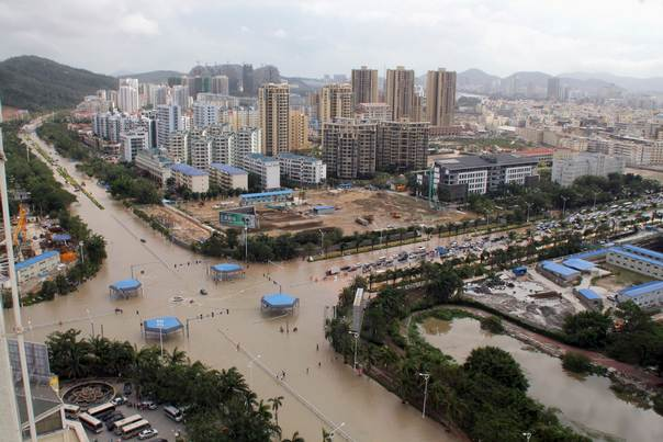 A view of flooded streets after rainstorms triggered by Typhoon Haiyan hit Sanya, in China's Hainan province, on November 11, 2013. REUTERS/Stringer
