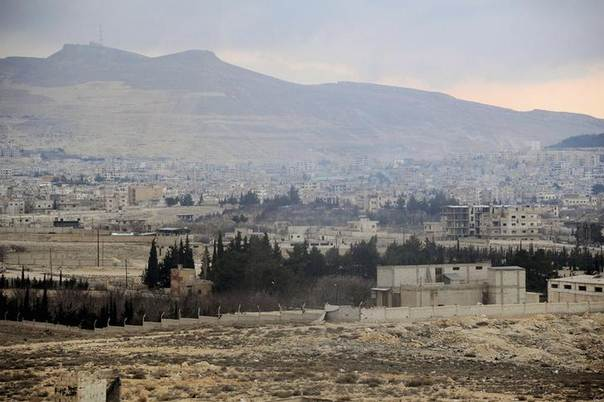 A view of a part of the town of Yabroud which is a major rebel bastion near the Lebanese border north of Damascus. Handout photograph released by Syria's national news agency SANA on March 15, 2014.