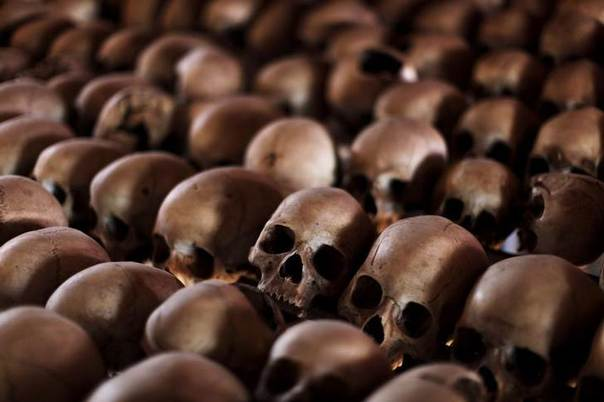 The skulls of Rwandan victims rest on shelves at a genocide memorial inside a church at Ntarama just outside Rwanda's capital Kigali, August 6, 2010. REUTERS/Finbarr O'Reilly
