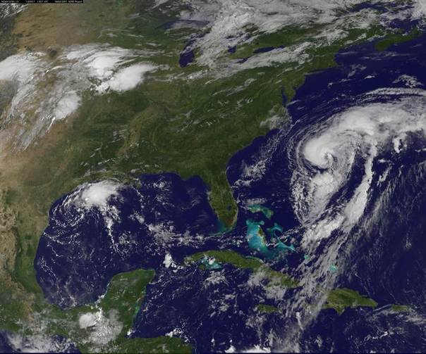 Hurricane Cristobal is seen off the east coast of the United States in an image taken from NOAA's Goes-East satellite at 0907EDT/1307GMT Aug. 27, 2014. REUTERS/NOAA/Handout via Reuters