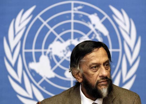Rajendra Pachauri, Chair of the Intergovernmental Panel on Climate Change (IPCC), briefs the media at the United Nations European headquarters in Geneva, June 7, 2012. REUTERS/Denis Balibouse