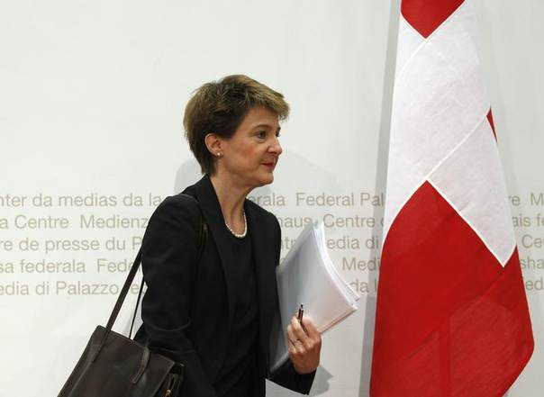 Swiss Justice Minister Simonetta Sommaruga leaves after a news conference in Bern December 18, 2012 REUTERS/Ruben Sprich