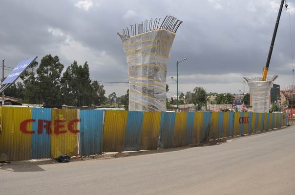 Pylons for an electric rail system under construction in Addis Ababa, Ethiopia. THOMSON REUTERS FOUNDATION/E.G.Woldegebriel