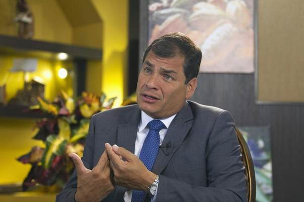 Ecuadorean President Rafael Correa gestures during an interview with Reuters in Portoviejo June 30, 2013.  REUTERS/Guillermo Granja