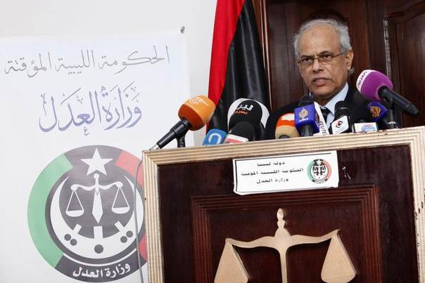 Libya's Justice Minister Salah al-Marghani speaks during a news conference at the headquarters of the Ministry of Justice in Tripoli January 25, 2014. REUTERS/Ismail Zitouny