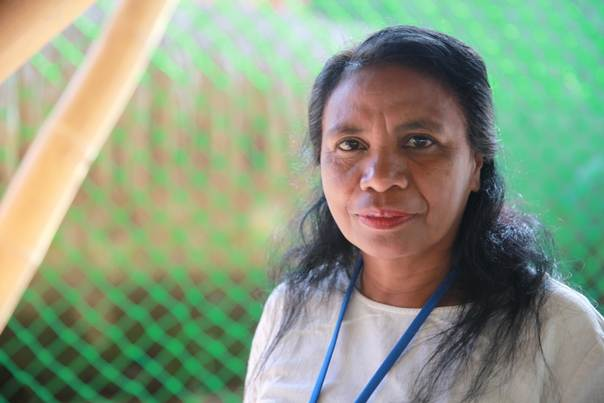 Aleta Baun, an award-winning environmentalist who led non-violent protests against marble mining companies in West Timor for more than a decade, pictured at a summit on women and climate in Bali, Indonesia, Aug. 5, 2014 TRF/Thin Lei Win.