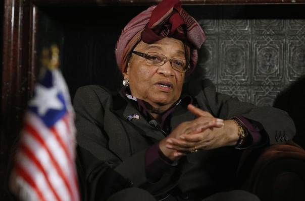 Liberian President Ellen Johnson-Sirleaf speaks during an interview with Reuters in Brussels, Nov. 25, 2013. REUTERS/Francois Lenoir
