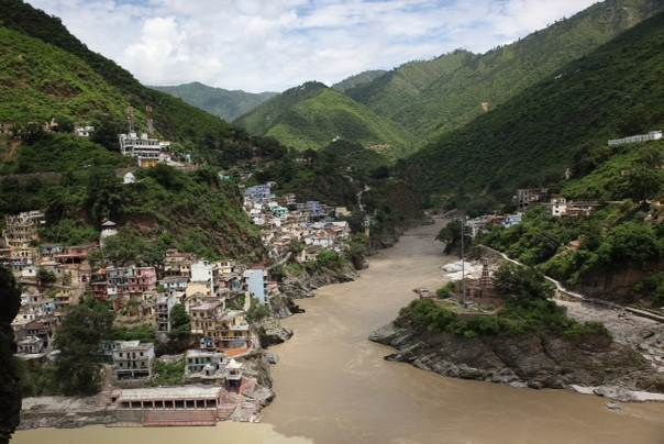 Buildings at the confluence of the Himalayan rivers Bhagirathi and Alaknanda, forming the Ganges at Devprayag, 77 km east of Rishikesh. Environmentalists say  illegal building worsened the impact of last month's floods. Picture by Nita Bhalla July 13, 2013