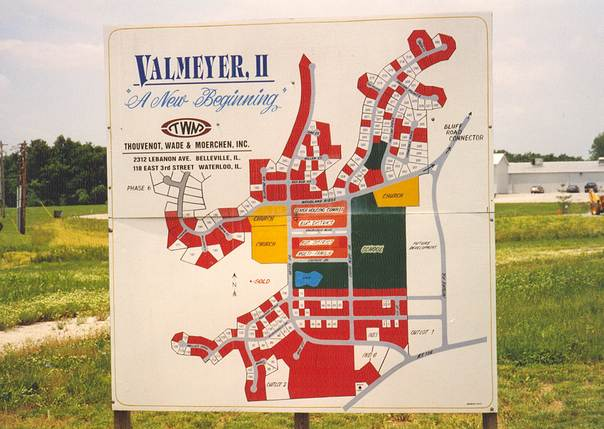 A 1993 map of plans for a new Valmeyer, Illinois, located on a bluff above the old flood-hit town. Photo courtesy of Dennis Knobloch.