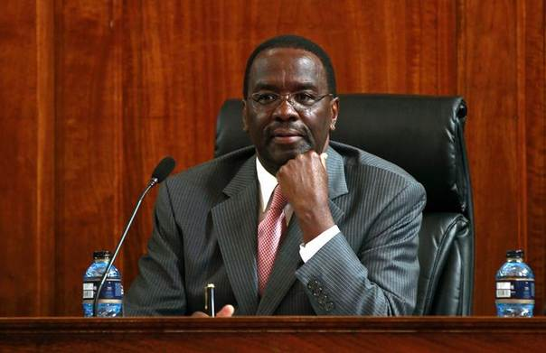 Kenya's Chief Justice Willy Mutunga follows proceedings during the mention of the Presidential poll petition at the Supreme Court in Kenya's capital Nairobi, March 20, 2013 REUTERS/Thomas Mukoya