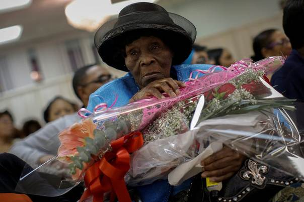 101 Year Old Sophia Smith Sits With Bouquets Of Flowers At A Birthday Celebration For Her And Two Other Over 100 Residents Crown Heights Center
