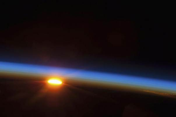 The sun is about to come up over the South Pacific Ocean in this colorful scene photographed by one of the Expedition 35 crew members aboard the Earth-orbiting International Space Station on May 5, 2013 and released May 9, 2013. NASA/Handout via Reuters