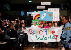 Children are seen during climate march at the COP23 in Bonn
