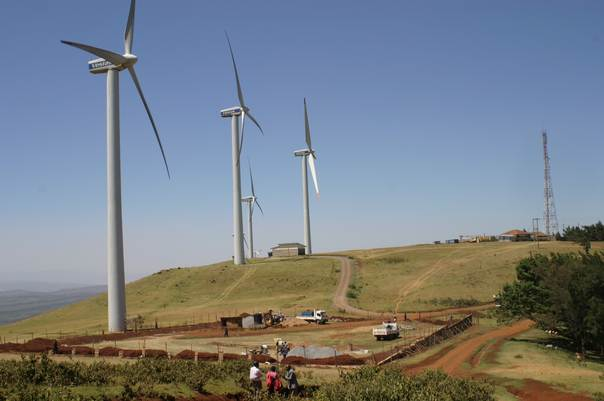 Wind turbines dominate the landscape at the Ngong Hills Wind Farm, managed by the Kenya Electricity Generating Company (KenGen) in  Kajiado County. TRF/Pius Sawa