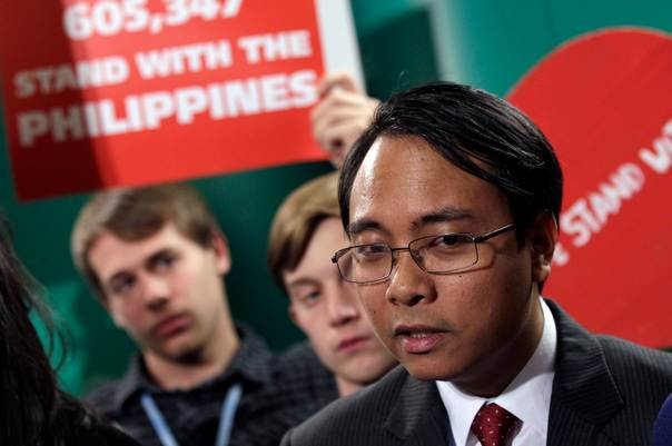 Naderev Sano, the Philippines' climate commissioner, talks with media during the 19th conference of the United Nations Framework Convention on Climate Change (COP19) at the National Stadium in Warsaw on November 19, 2013. REUTERS/Kacper Pempel