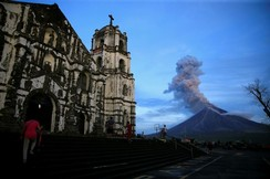 A view of Mount Mayon volcano as it erupted anew in Daraga, south of Manila
