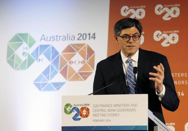 U.S. Treasury Secretary Jack Lew speaks during a news conference at the G20 Central Bank Governors and Finance Ministers annual meeting in Sydney, February 23, 2014 REUTERS/Jason Reed