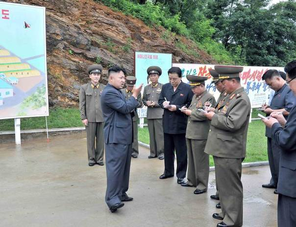 North Korean leader Kim Jong-un gives field guidance at a mushroom farm in this undated photo released by North Korea's Korean Central News Agency (KCNA) in Pyongyang July 16, 2013. REUTERS/KCNA