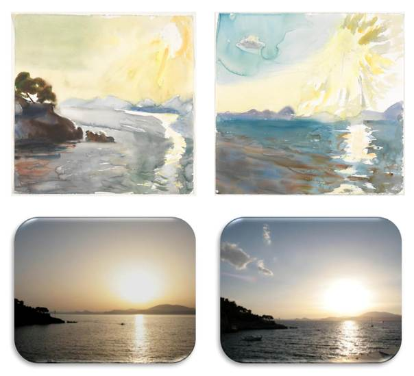Digitally compressed paintings produced by colourist P. Tetsis at the island of Hydra in Greece in June 2010 during and after the passage of a Saharan dust cloud. The painting on the left shows more dust in the atmosphere than the one on the right. At the bottom are photos of the landscape, taken halfway through the painting process. Images: P. Tetsis (paintings) and C. Zerefos (photos)
