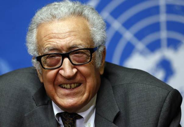 U.N.-Arab League envoy for Syria Lakhdar Brahimi smiles during a news conference at the United Nations European headquarters in Geneva, Switzerland, January 28, 2014. REUTERS/Denis Balibouse