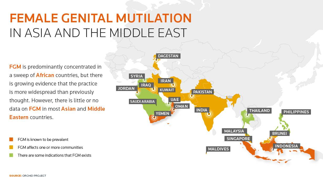 In parts of Asia and Middle East, female genital mutilation a hidden ritual