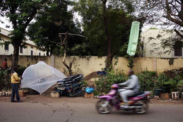 A mosquito net vendor arranges his wares by the side of a road in Bamako February 18, 2014. Picture taken February 18.  REUTERS/Joe Penney