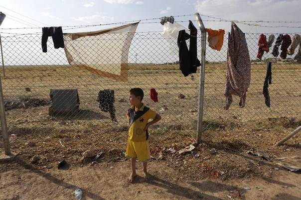 A boy who fled violence in the Iraqi town of Jalawla stands near laundry hung out to dry on a wire fence at Ali Awa refugee camp, near Khanaqin city, August 28, 2014. REUTERS/Youssef Boudlal