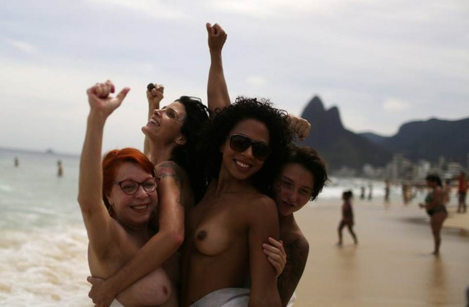 Topless brazilian protest public video