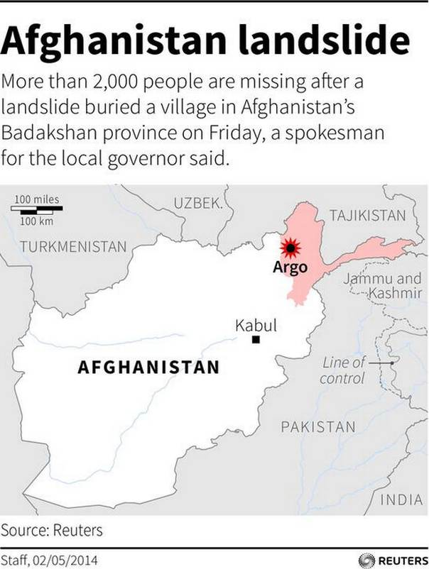 Map locating Badakshan province, where a landslide buried a village on Friday leaving up to 500 people missing