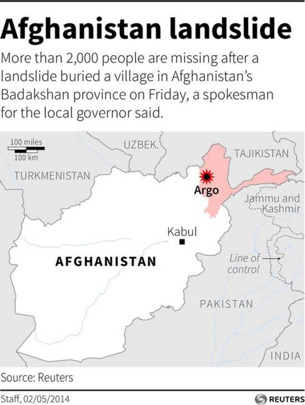 Map locating Badakshan province, where a landslide buried a village on Friday leaving up to 500 people missing./REUTERS