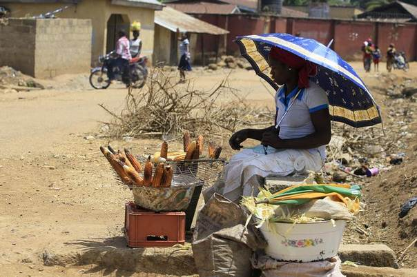A woman roasts maize by the road side along Manchock road, in Kaura Local Government Kaduna State, March 21, 2014. REUTERS/Afolabi Sotunde