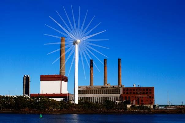 A Massachusetts Water Resources Authority wind turbine turns in front of a 1951 megawatt fossil fuel power plant in Charlestown, Massachusetts, on September 18, 2013. REUTERS/Brian Snyder