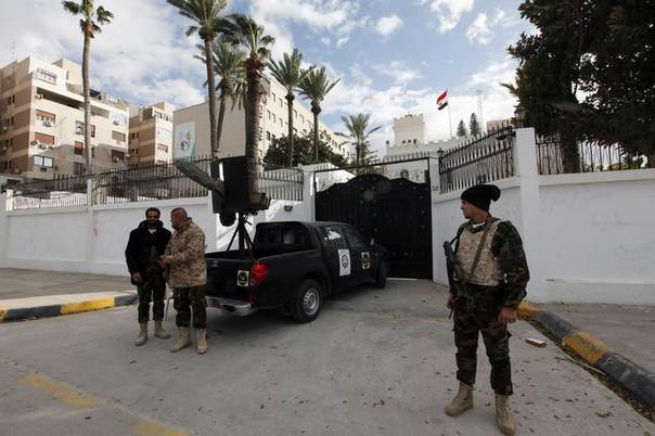 A general view of security in front of the Egyptian embassy in Tripoli January 25, 2014. REUTERS/Ismail Zitouny