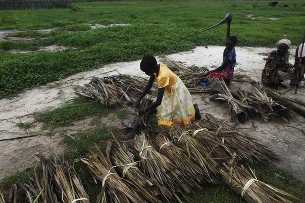 Girls tie dried grasses into bundles to be sold in Leer, Unity State, South Sudan,July 17, 2014. REUTERS/Andreea Campeanu