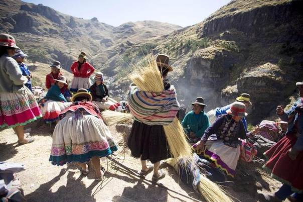 An Andean woman carries a local grass for making ropes to be used in the construction of the Qeswachaka hanging bridge in Cuzco, Peru on June 11, 2010.REUTERS/Enrique Castro-Mendivil