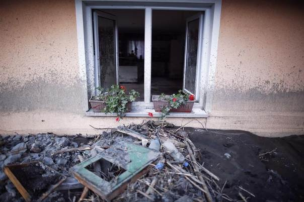 Flowers are seen on the window ledge of a house in the aftermath of floods in Topcic Polje, Bosnia, May 23, 2014. REUTERS/Dado Ruvic