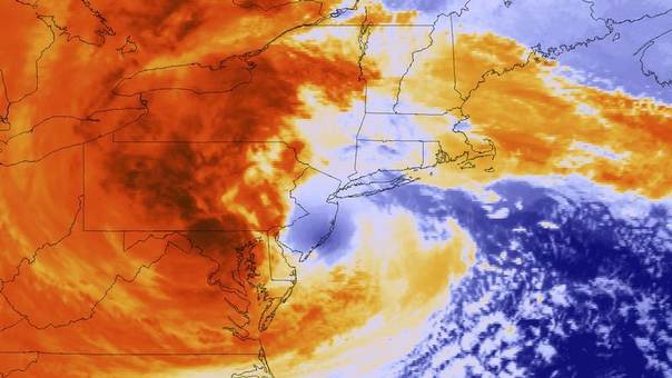 Post-Tropical Cyclone Sandy is seen as it makes landfall southwest of Atlantic City, New Jersey in this GOES-13 satellite colorized infrared handout image taken October 29, 2012. REUTERS/NOAA/Handout.