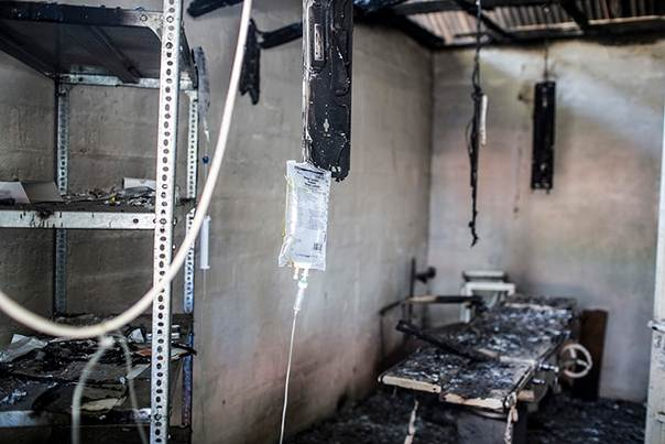 The operating theatre of Leer Hospital was destroyed when the facility was looted and burned during fighting in South Sudan's Unity state in late January 2014. Photo by Michael Goldfarb of Médecins Sans Frontières