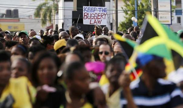 Thousands of Jamaicans hold a demonstration against the local LGBT community in Half Way Tree, Kingston, June 29, 2014. REUTERS/Gilbert Bellamy