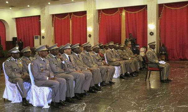 Malian army officials attend an annual ceremony with President Ibrahim Boubacar Keita at the presidential palace in Bamako December 23, 2013 REUTERS/Adama Diarra