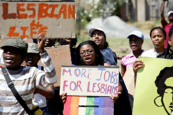 Lesbians march in the streets of Soweto, South Africa, in 2006 to protest against oppression and unfair treatment. REUTERS/Siphiwe Sibeko