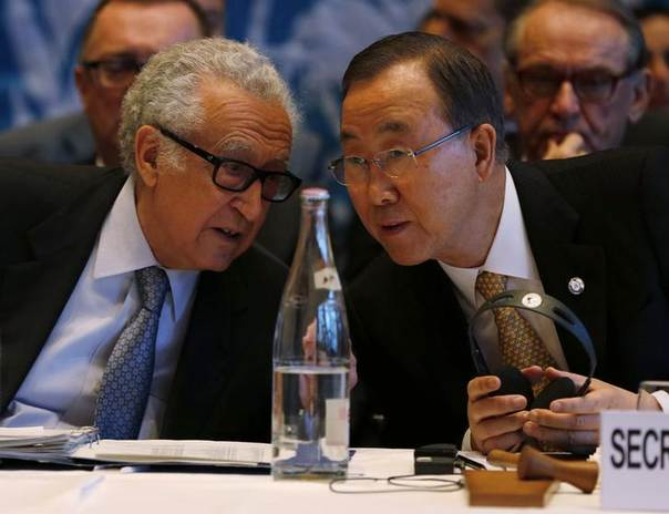 DATE IMPORTED:January 22, 2014U.N. special envoy for Syria Lakhdar Brahimi speaks to U.S. Secretary-General Ban Ki-moon (R) at the opening of the Geneva-2 peace conference in Montreux January 22, 2014. REUTERS/Jamal Saidi