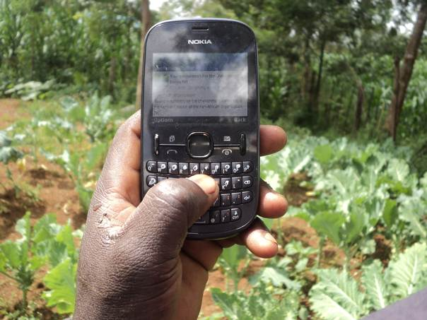 Farmer Julius Cheruiyot checks his smart phone for advice on adapting his farm to changing climate conditions. THOMSON REUTERS FOUNDATION/ Caleb Kemboi