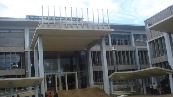 The new library at the Catholic University of Eastern Africa in Nairobi incorporates a range of green design features. THOMSON REUTERS FOUNDATION/Justus Bahati Wanzala