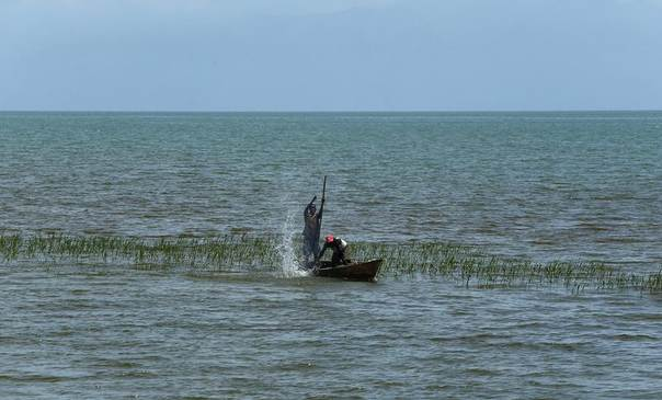 Fishermen on a boat try to spear fish on Lake Tanganyika outside Bujumbura, Burundi, April 19, 2013. REUTERS/Darrin Zammit Lup