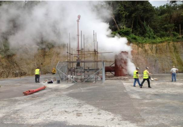 Workers at the site of Dominica's first geothermal venture, located in the island's Roseau Valley. Photo: Tim Durand