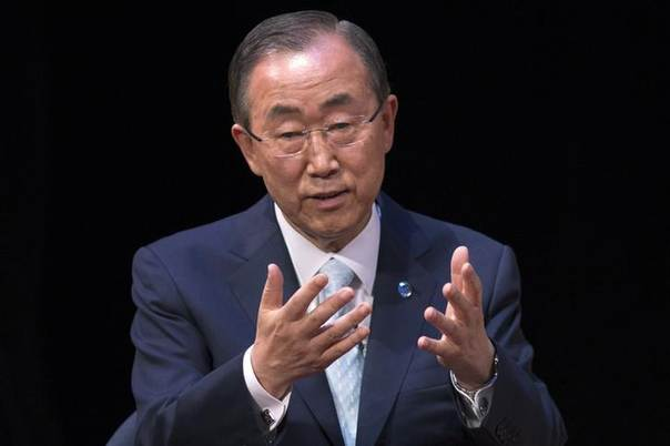 United Nations Secretary-General Ban Ki-moon reacts while answering questions after giving a speech on Syria entitled,